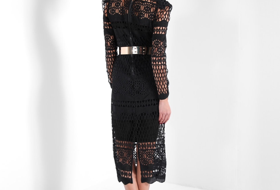 BLACK JUSTINE DRESS W/GOLD BELT