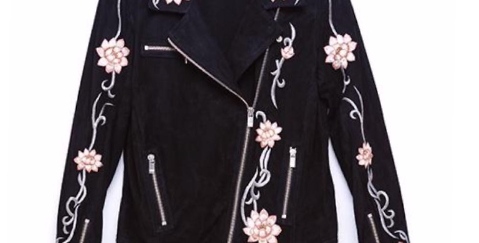 LOTUS FLOWER BLACK SUEDE JACKET