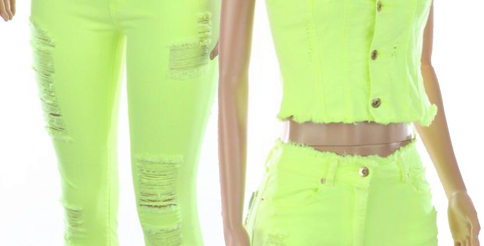 Denim Distressed Stretch Pants/Vest (Assorted Colors)