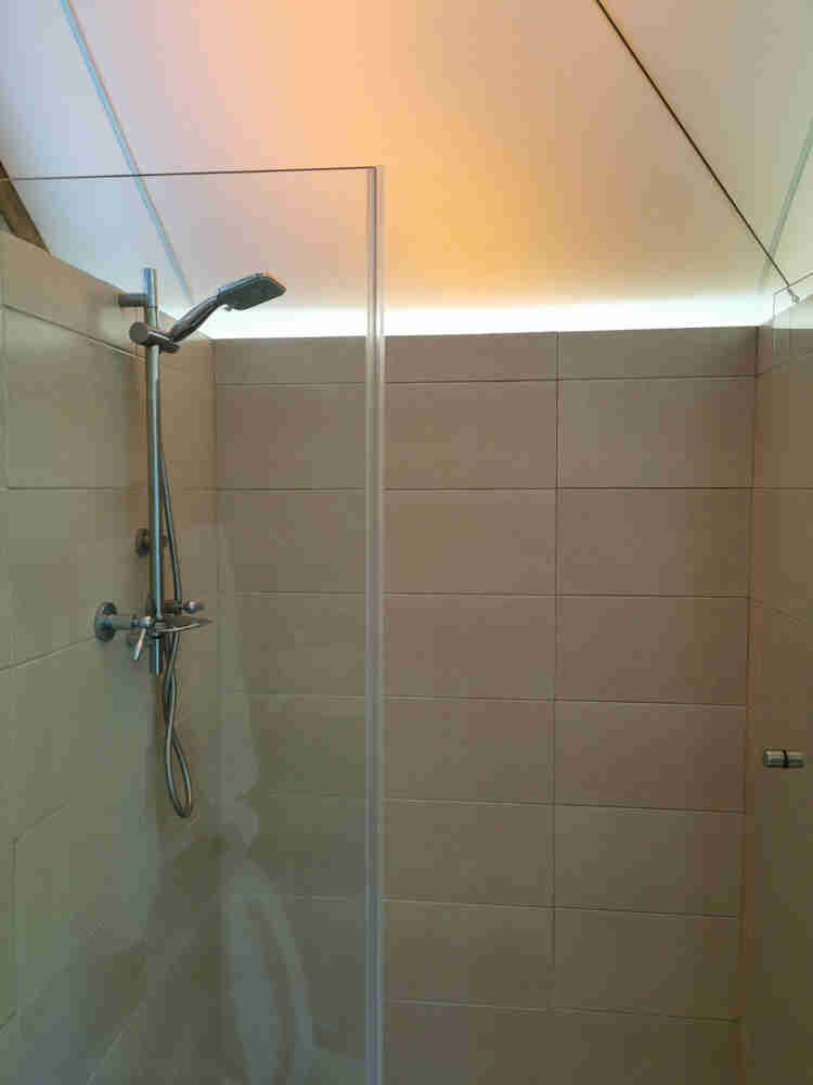 a full functioning, hot water shower inside the tent