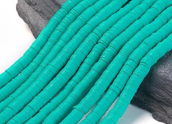 Heishi en argile 6x1mm bleu turquoise moyen - 360 perles par fil