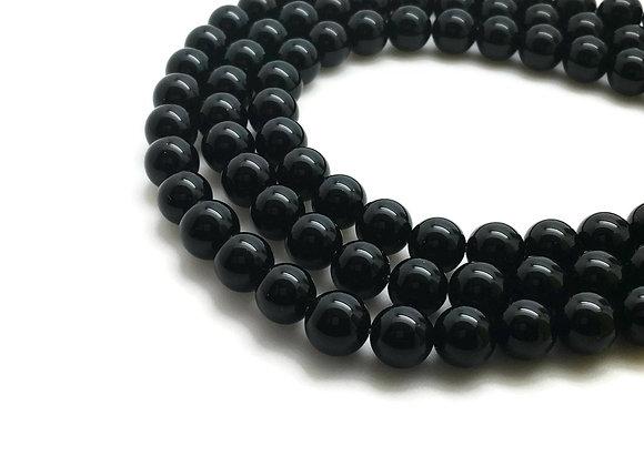Agate Noire 6mm Naturelle - 61 perles par fil