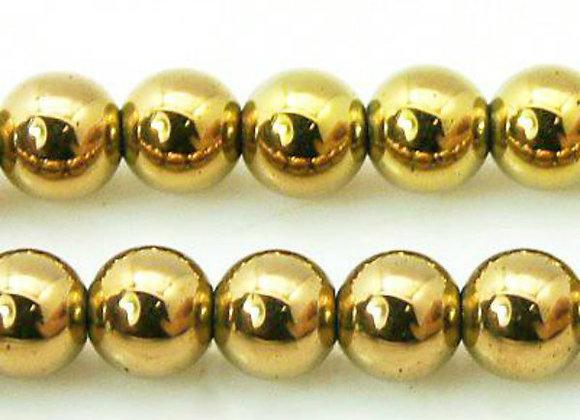 Hématite 8mm Doré - 47 perles par fil