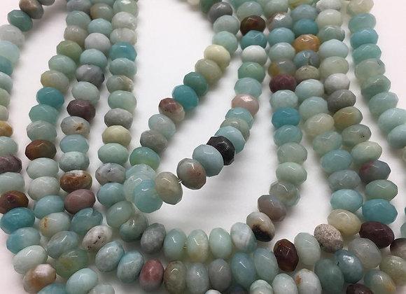 Amazonite abacus 8x5mm facette - 70 perles par fil