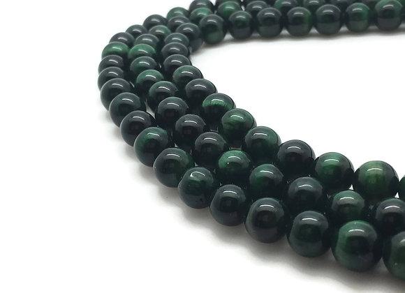 Oeil de Tigre Vert 10mm Naturel - 37 perles par fil