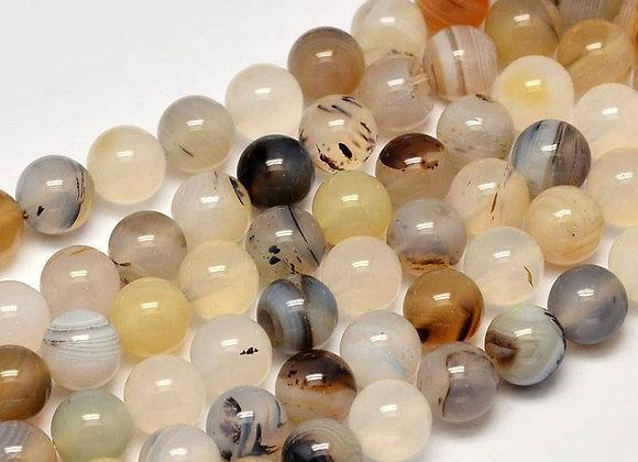 Agate Paysage 8mm Naturelle - 47 perles par fil