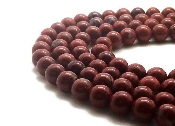 Jaspe Red Stone 8mm Naturelle - 47 perles par fil