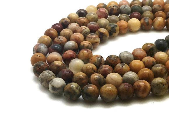 Agate Crazy 8mm Naturelle - 47 perles par fil
