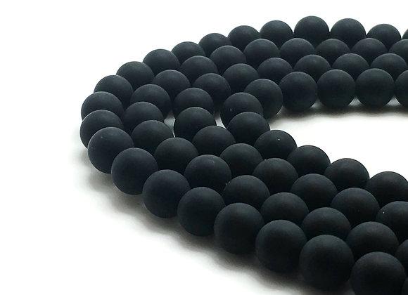 Agate Noire Givrée 8mm Naturelle - 47 perles par fil