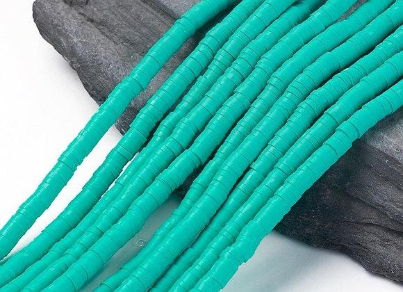 Heishi en argile 4x1mm bleu turquoise moyen - 360 perles par fil