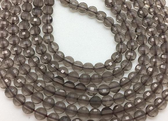 Quartz fumé palet 4x2.5mm facette - 90 perles par fil