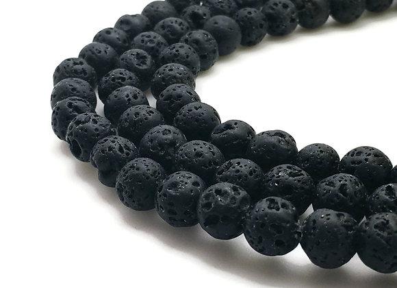 Pierre De Lave 10mm Noire Naturelle - 37 perles par fil