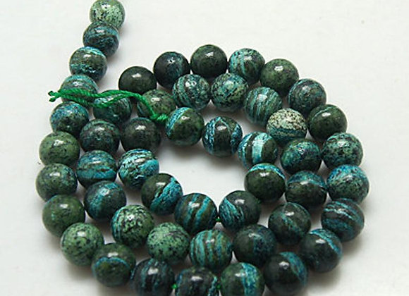 Jaspe 10mm silver line stone - 37 perles par fil