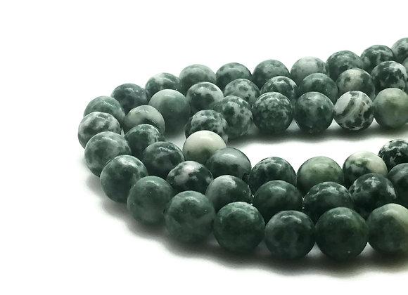 Jaspe Green Spot Stone 8mm Naturel - 47 perles par fil