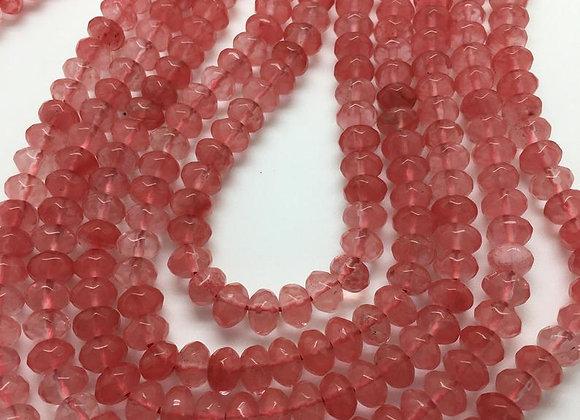 Quartz cerise abacus 8x5mm facette - 70 perles par fil