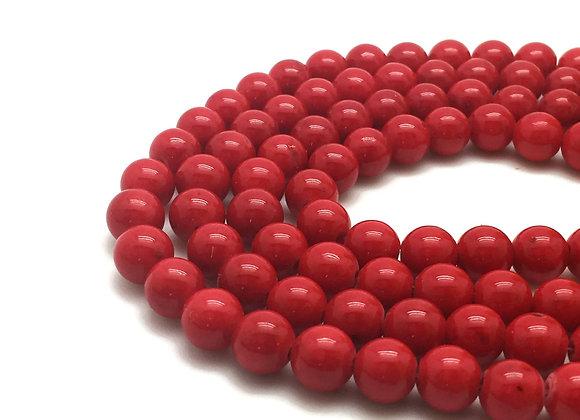 Jade Mashan Rouge 6mm - 61 perles par fil