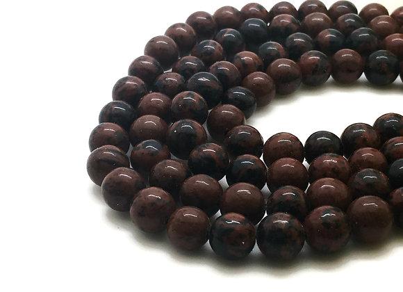 Obsidienne Acajou 6mm Naturelle - 61 perles par fil