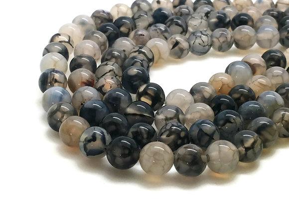 Agate Veine De Dragon 8mm Blanc Noir - 47 perles par fil