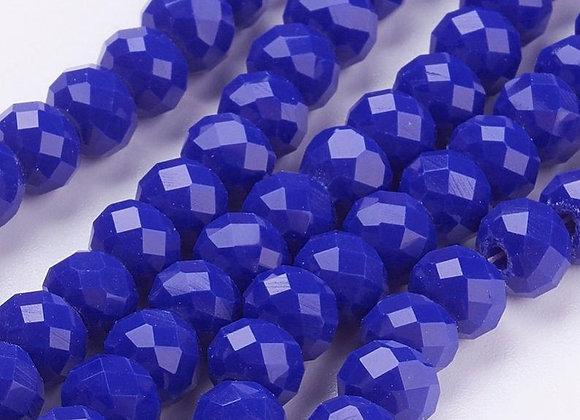 Verre abacus / rondelle imitation jade 6x4mm bleu facette - 90 perles par fil
