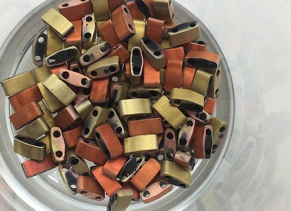 5g Miyuki Half Tila - Black California Gold Rush Matted - 5x2.3x1.9mm - HTL55046