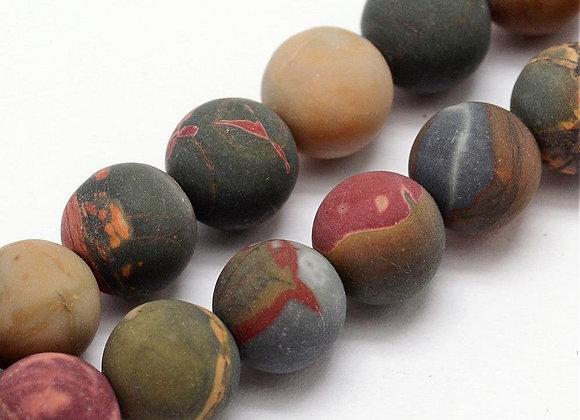 Jaspe Picasso 8mm Givrée Naturelle - 47 perles par fil