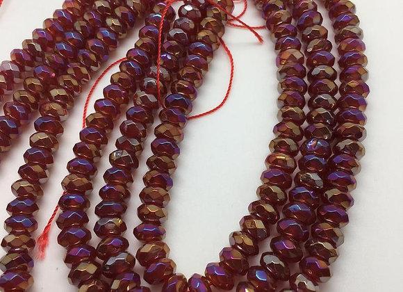 Agate électroplate abacus 8x5mm bordeaux facette - 70 perles par fil