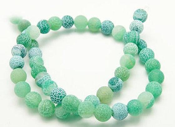 Agate Craquelée Vert 8mm - 47 perles par fil