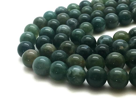 Agate Mousse 4mm Naturelle - 89 perles par fil