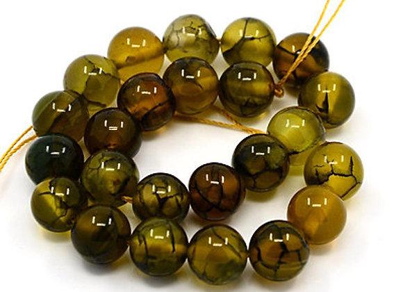 Agate veine de dragon vert olive 6mm - 30 perles par fil
