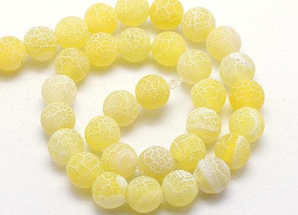Agate Craquelée Jaune 10mm - 37 perles par fil