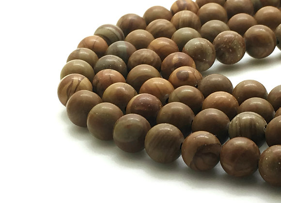 Wood Lace Stone Marron 10mm Naturel - 37 perles par fil
