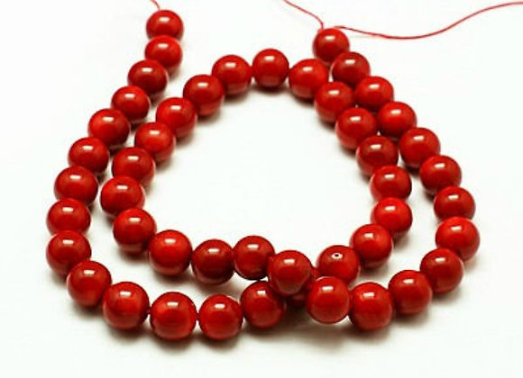 Corail 6mm Rouge Naturelle - 61 perles par fil