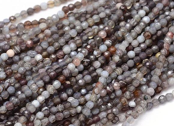 """Agate botswana 3mm à facettes - fil 15.5""""-38cm"""
