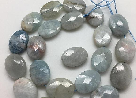 Aigue-marine palet 18x13x6mm facette - 20 perles par fil