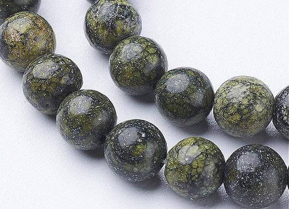 Green Lace Stone 8mm Naturelle - 47 perles par fil