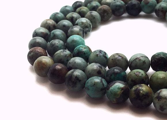 Turquoise Africaine 8mm Naturelle - 47 perles par fil