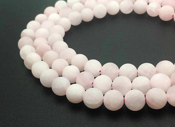 Quartz Rose Givré 12mm Naturel - 32 perles par fil