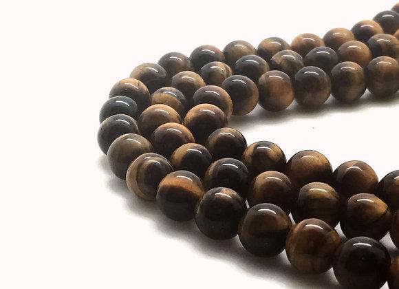 Oeil De Tigre Marron 18mm Naturel - 21 perles par fil
