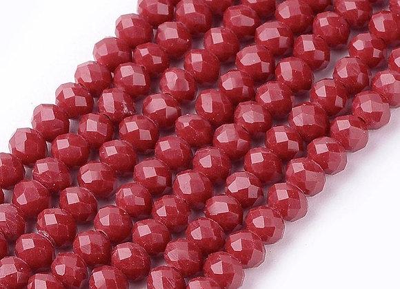Verre abacus / rondelle imitation jade 4x3mm rouge facette - 130 perles par fil