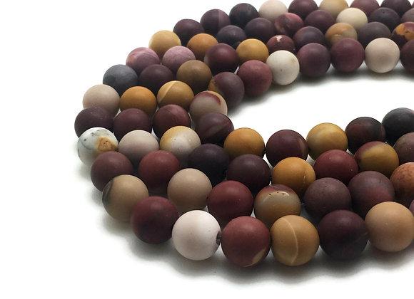 Mokaïte Givrée 6mm Naturelle - 61 perles par fil