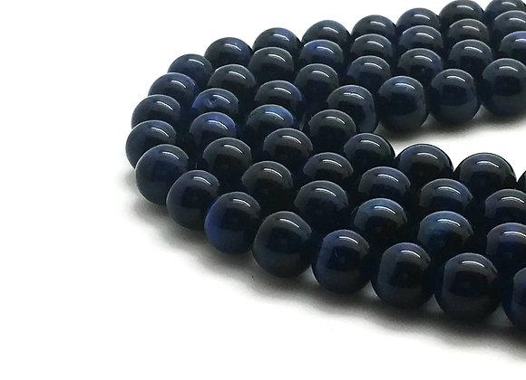 Oeil de Tigre Bleu 6mm Naturel - 30 perles par fil
