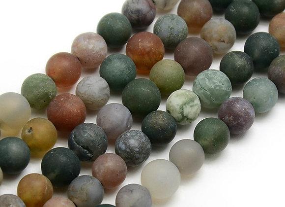 Agate Indienne Givrée 8mm Naturelle - 47 perles par fil
