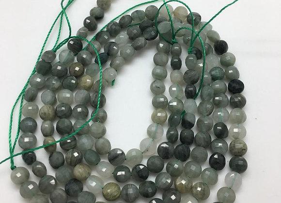 Quartz rutile palet 6.7x4mm vert facette - 50 perles par fil