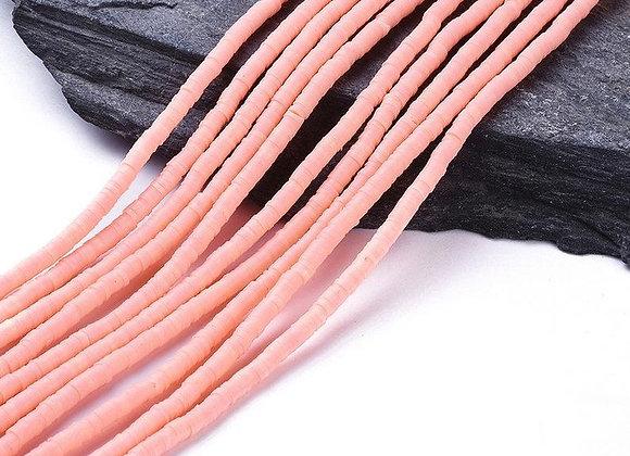 Heishi en argile 4x1mm rose - 360 perles par fil