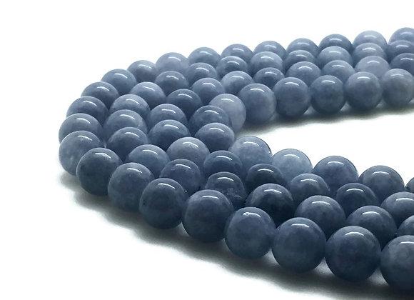 Quartz bleu 8mm imitation aiguemarine - 47 perles par fil