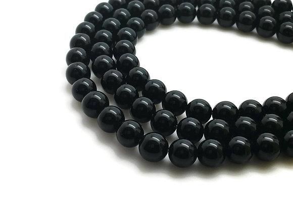 Agate Noire 16mm Naturelle - 24 perles par fil