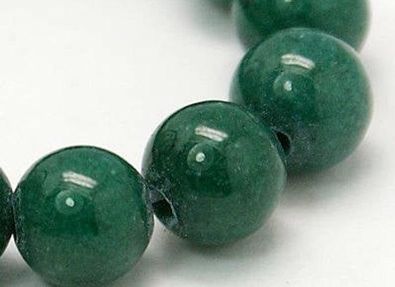 Jade Mashan Vert Foncé 10mm - 37 perles par fil