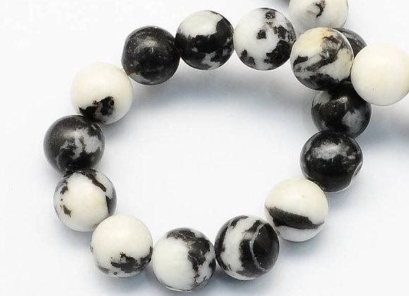 Jaspe Zèbre 10mm Naturelle - 37 perles par fil