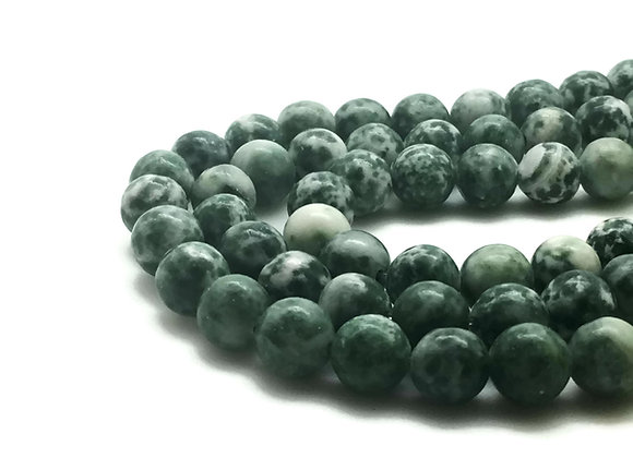 Jaspe Green Spot Stone 6mm Naturel - 61 perles par fil