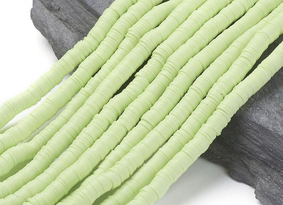 Heishi en argile 6x1mm vert clair - 360 perles par fil